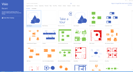 Интерфейс Microsoft Visio 2013 – рис.1
