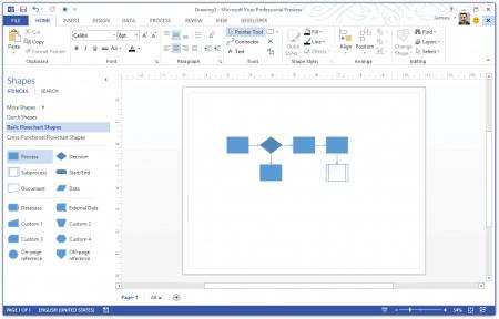 Интерфейс Microsoft Visio 2013 – рис.2