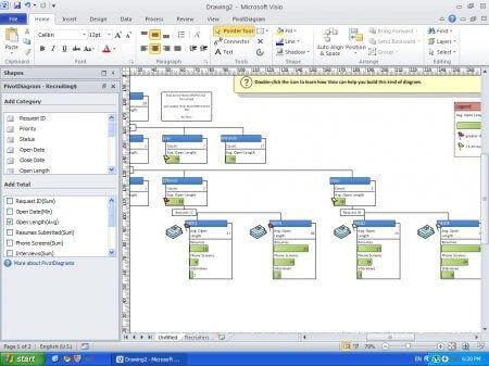 Интерфейс Microsoft Visio 2010 – рис.1
