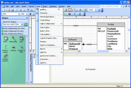 Интерфейс Microsoft Visio 2003 – рис.1
