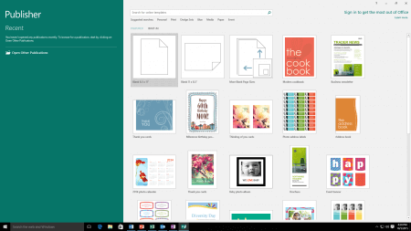 Интерфейс Microsoft Publisher 2016 – рис.1
